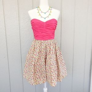 Betsey Johnson VTG Pink Floral Dress w Tulle Skirt